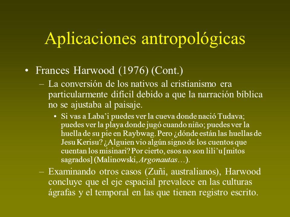 Aplicaciones antropológicas Frances Harwood (1976) (Cont.) –La conversión de los nativos al cristianismo era particularmente difícil debido a que la n
