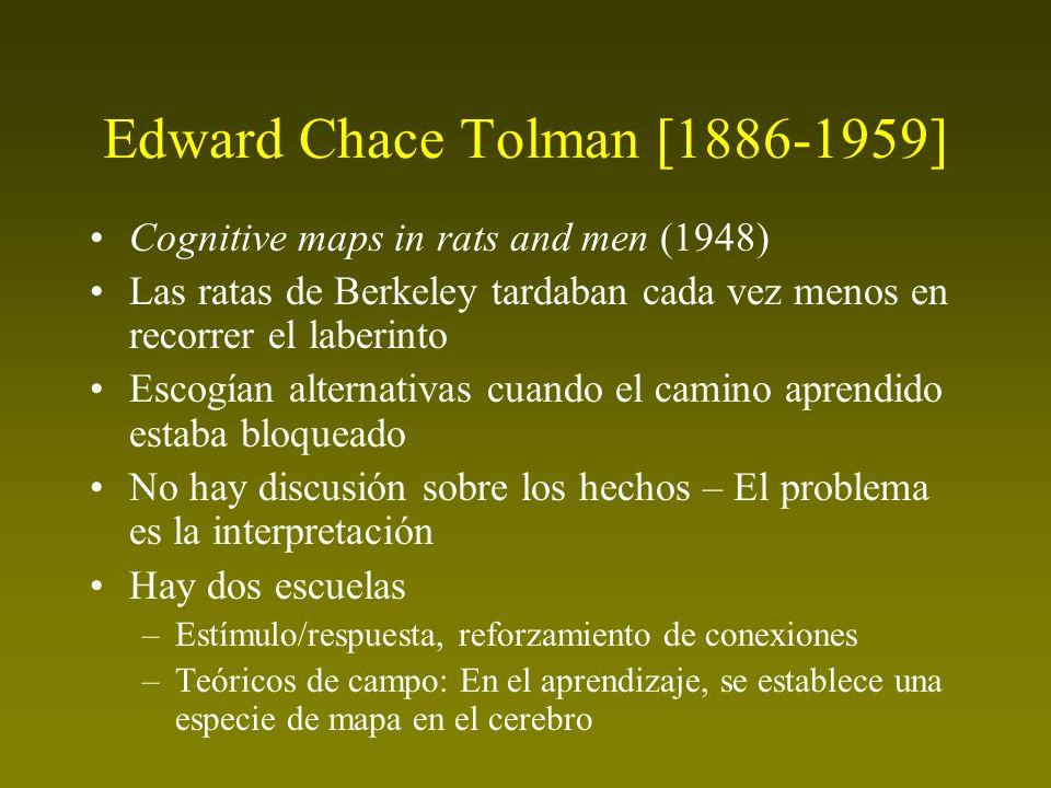 Edward Chace Tolman [1886-1959] Cognitive maps in rats and men (1948) Las ratas de Berkeley tardaban cada vez menos en recorrer el laberinto Escogían