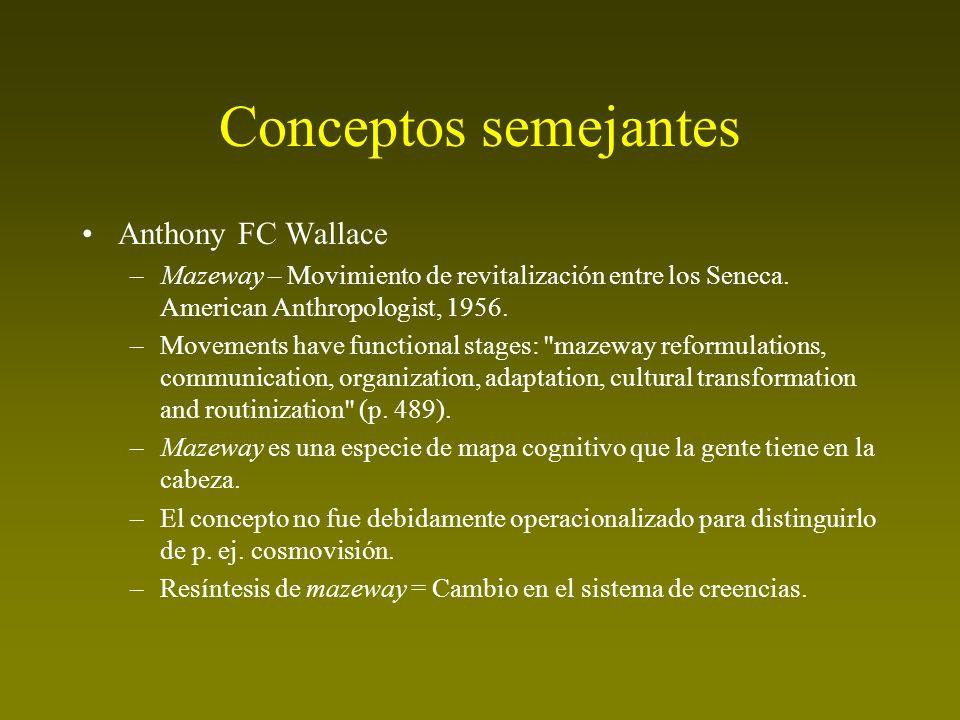 Conceptos semejantes Anthony FC Wallace –Mazeway – Movimiento de revitalización entre los Seneca. American Anthropologist, 1956. –Movements have funct