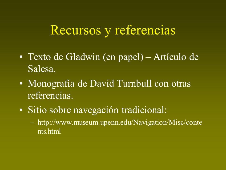 Recursos y referencias Texto de Gladwin (en papel) – Artículo de Salesa. Monografía de David Turnbull con otras referencias. Sitio sobre navegación tr