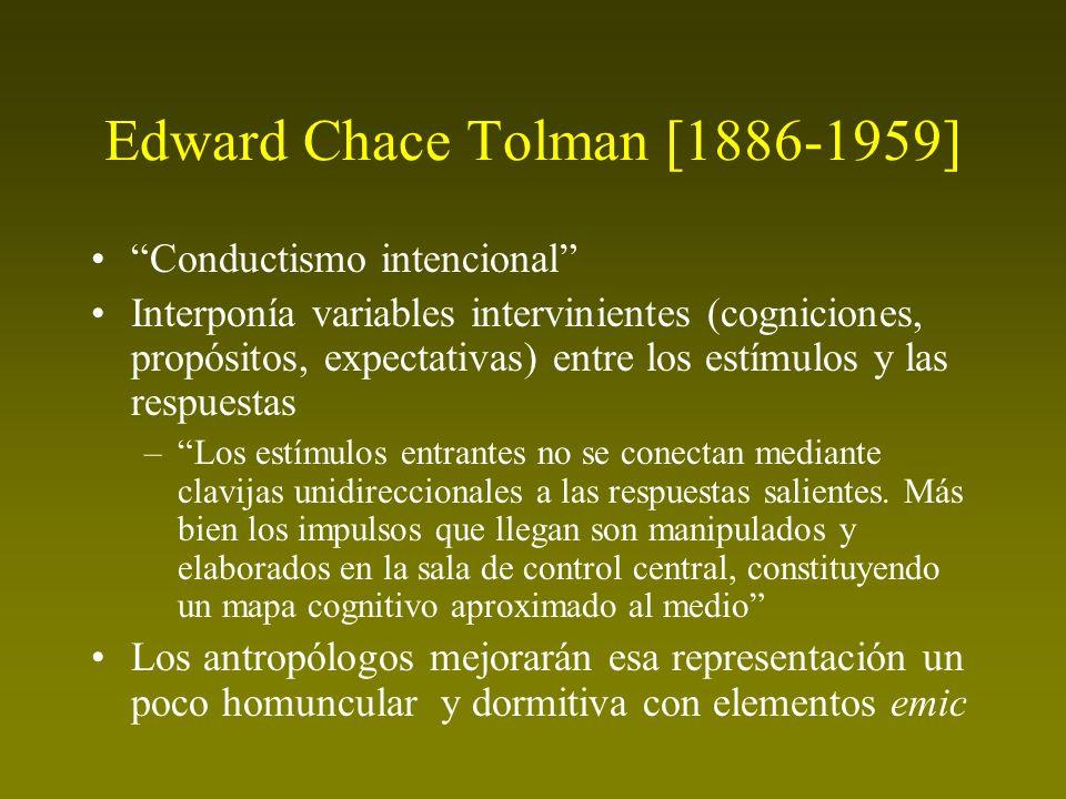 Edward Chace Tolman [1886-1959] Conductismo intencional Interponía variables intervinientes (cogniciones, propósitos, expectativas) entre los estímulo