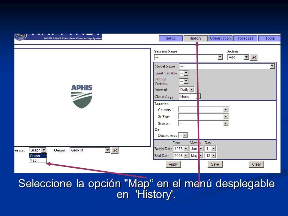 Seleccione la opción Map en el menú desplegable en History .