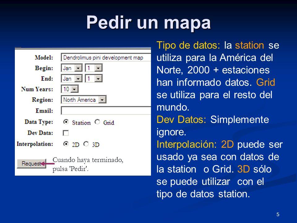 5 Pedir un mapa Tipo de datos: la station se utiliza para la América del Norte, 2000 + estaciones han informado datos. Grid se utiliza para el resto d