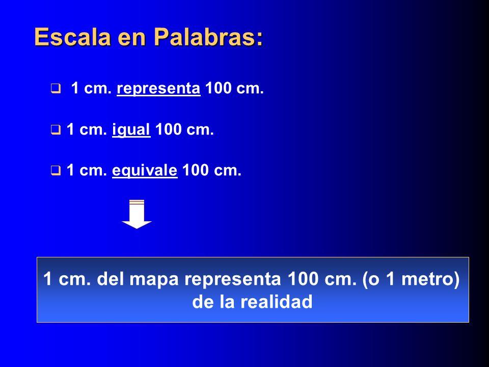 1 cm.del mapa representa 100 cm.