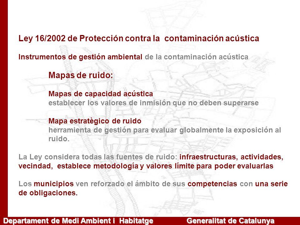 Departament de Medi Ambient i Habitatge Generalitat de Catalunya Ley 16/2002 de Protección contra la contaminación acústica Instrumentos de gestión am