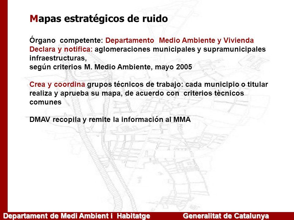 Mapas estratégicos de ruido Órgano competente: Departamento Medio Ambiente y Vivienda Declara y notifica: aglomeraciones municipales y supramunicipale