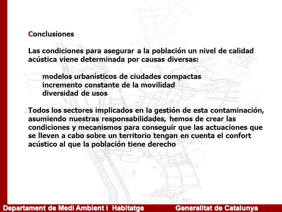 Departament de Medi Ambient i Habitatge Generalitat de Catalunya Conclusiones Las condiciones para asegurar a la población un nivel de calidad acústic