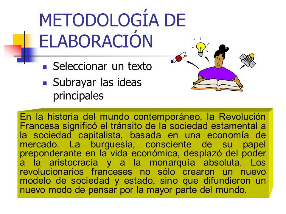 METODOLOGÍA DE ELABORACIÓN Seleccionar un texto Subrayar las ideas principales En la historia del mundo contemporáneo, la Revolución Francesa signific