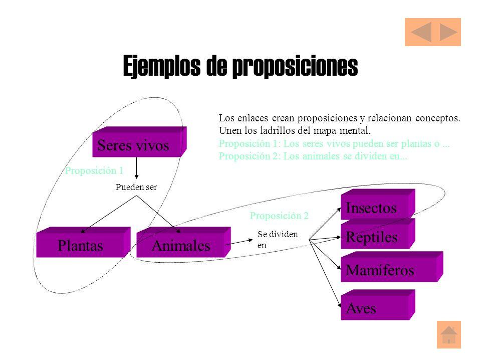 Ejemplos de proposiciones Seres vivos Pueden ser PlantasAnimales Se dividen en Insectos Reptiles Mamíferos Aves Proposición 1 Proposición 2 Los enlaces crean proposiciones y relacionan conceptos.