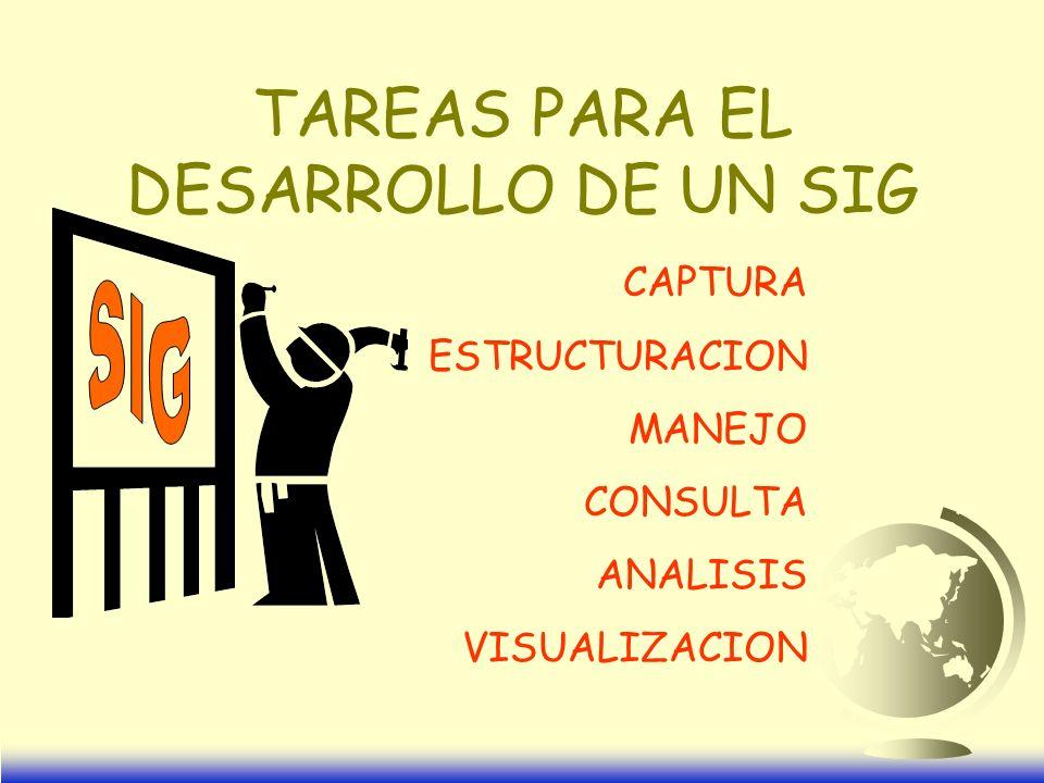 TAREAS PARA EL DESARROLLO DE UN SIG CAPTURA ESTRUCTURACION MANEJO CONSULTA ANALISIS VISUALIZACION