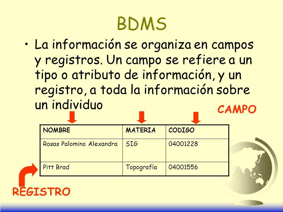 BDMS La información se organiza en campos y registros.