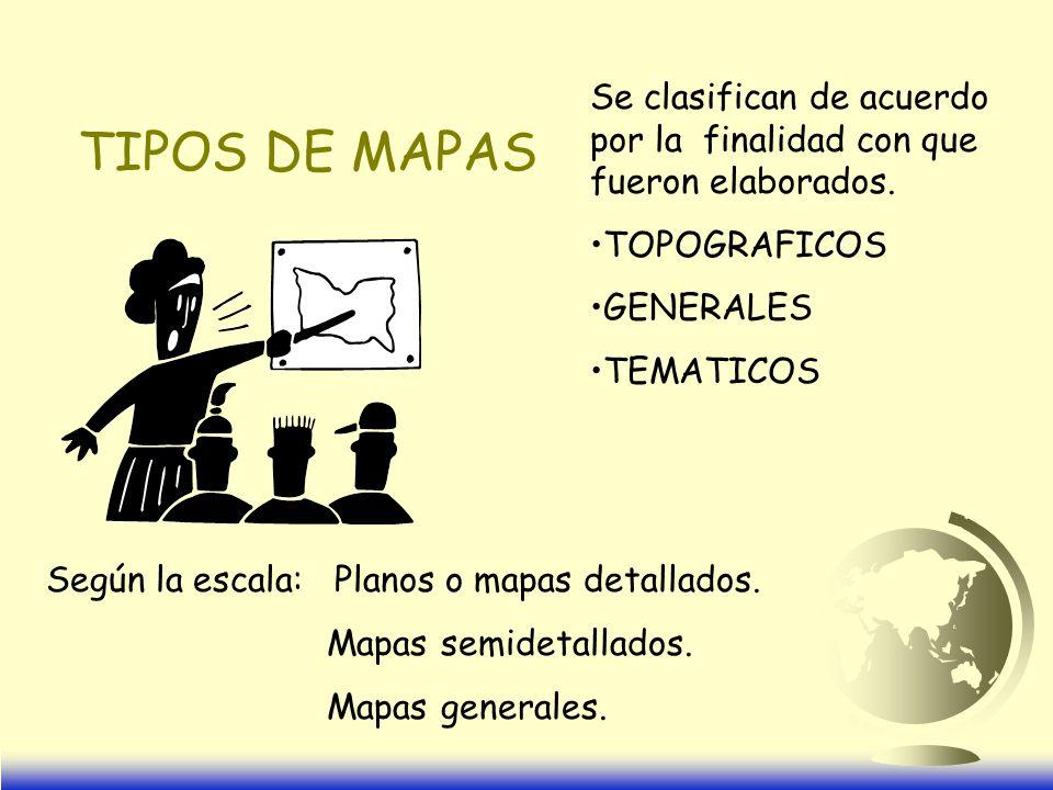 TIPOS DE MAPAS Se clasifican de acuerdo por la finalidad con que fueron elaborados.