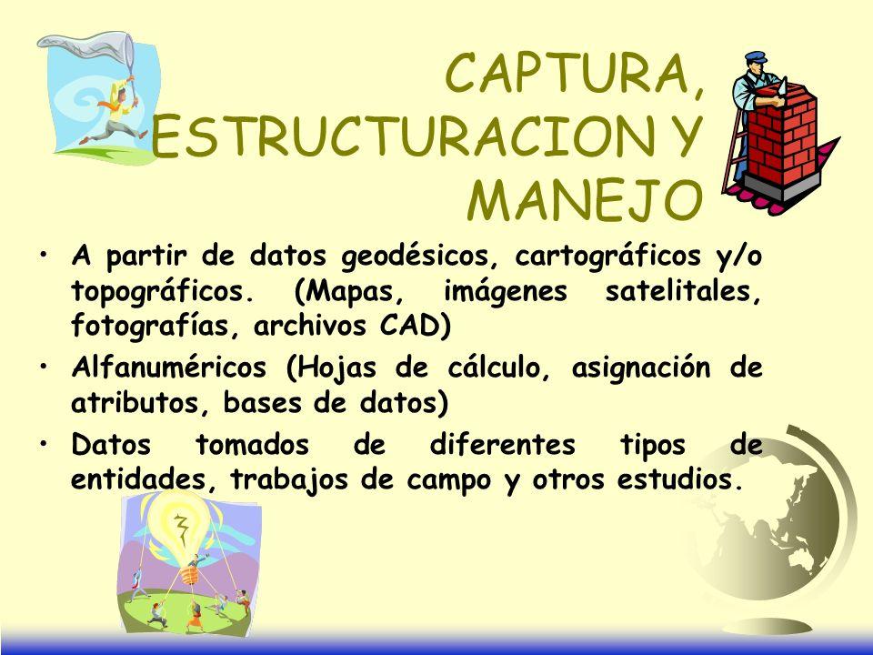 CAPTURA, ESTRUCTURACION Y MANEJO A partir de datos geodésicos, cartográficos y/o topográficos.