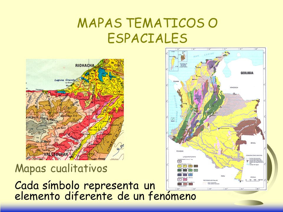MAPAS TEMATICOS O ESPACIALES Mapas cualitativos Cada símbolo representa un elemento diferente de un fenómeno