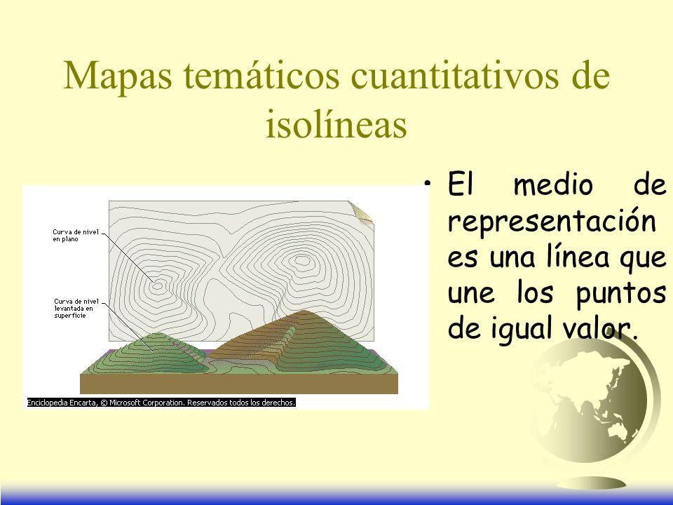 Mapas temáticos cuantitativos de isolíneas El medio de representación es una línea que une los puntos de igual valor.