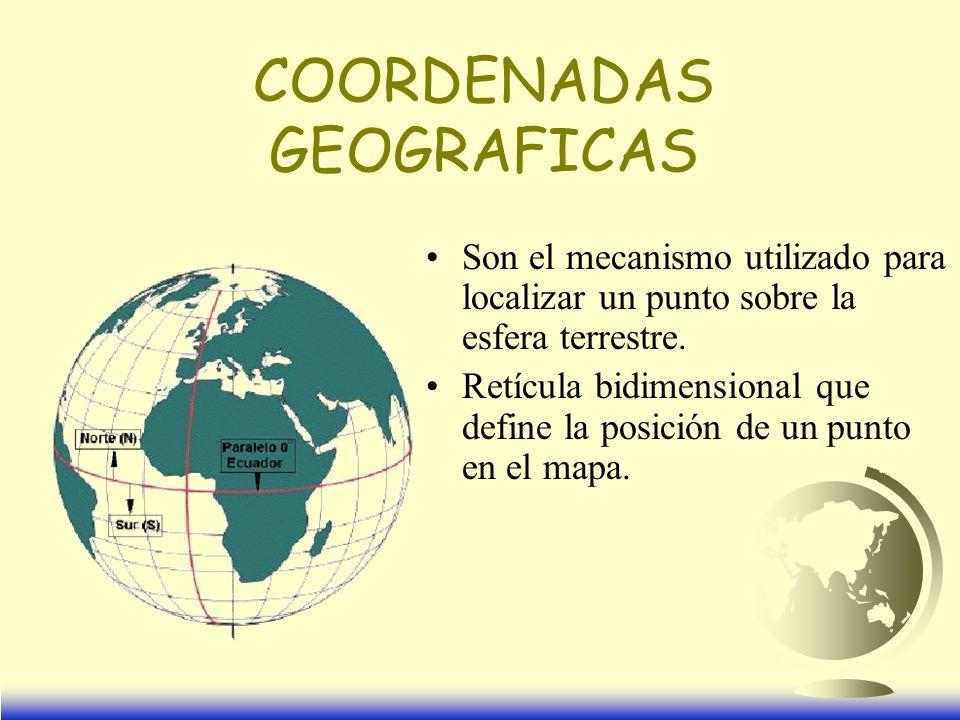 Son el mecanismo utilizado para localizar un punto sobre la esfera terrestre.