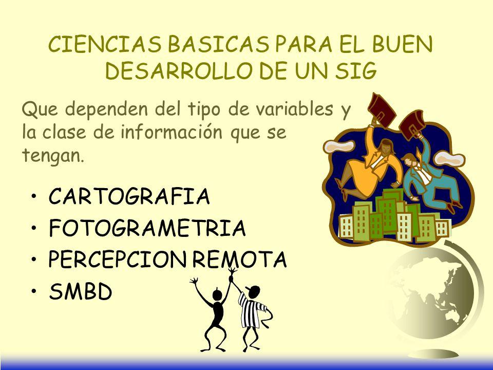 CIENCIAS BASICAS PARA EL BUEN DESARROLLO DE UN SIG CARTOGRAFIA FOTOGRAMETRIA PERCEPCION REMOTA SMBD Que dependen del tipo de variables y la clase de información que se tengan.