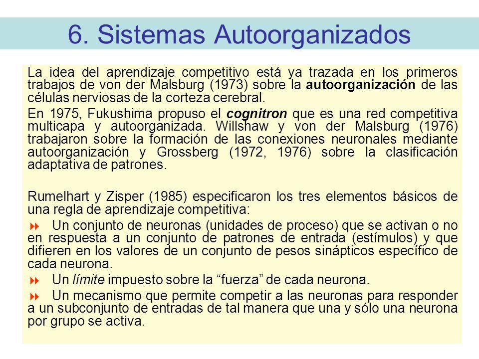 6. Sistemas Autoorganizados La idea del aprendizaje competitivo está ya trazada en los primeros trabajos de von der Malsburg (1973) sobre la autoorgan