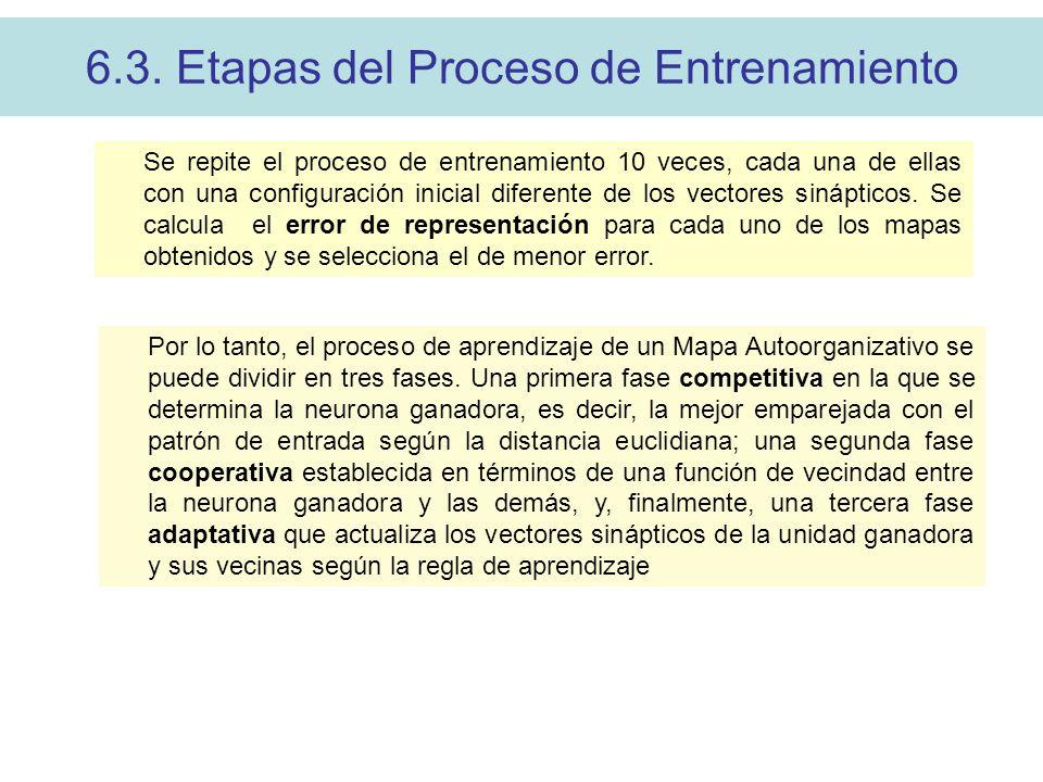 6.3. Etapas del Proceso de Entrenamiento Se repite el proceso de entrenamiento 10 veces, cada una de ellas con una configuración inicial diferente de