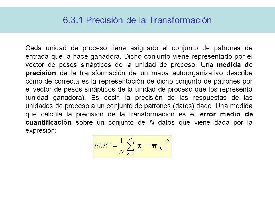 6.3.1 Precisión de la Transformación Cada unidad de proceso tiene asignado el conjunto de patrones de entrada que la hace ganadora.