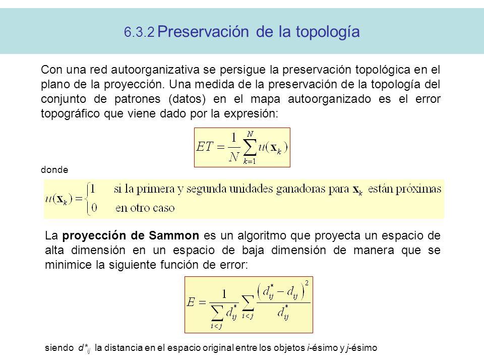 6.3.2 Preservación de la topología Con una red autoorganizativa se persigue la preservación topológica en el plano de la proyección. Una medida de la
