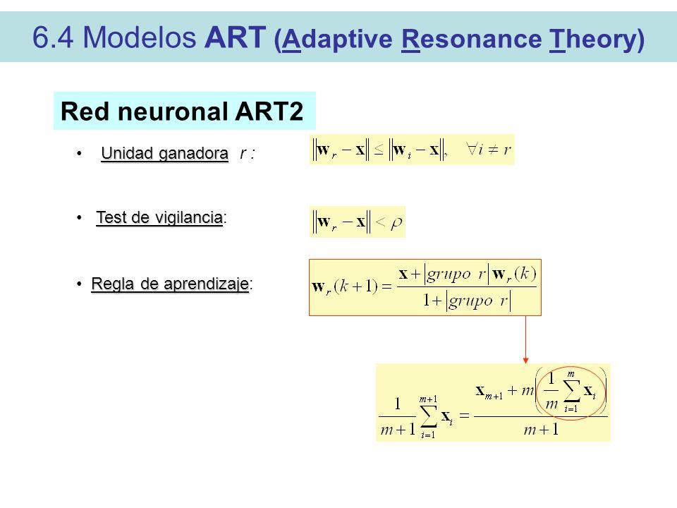 6.4 Modelos ART (Adaptive Resonance Theory) Red neuronal ART2 Test de vigilancia Test de vigilancia: Regla de aprendizaje Regla de aprendizaje: Unidad ganadora Unidad ganadora r :
