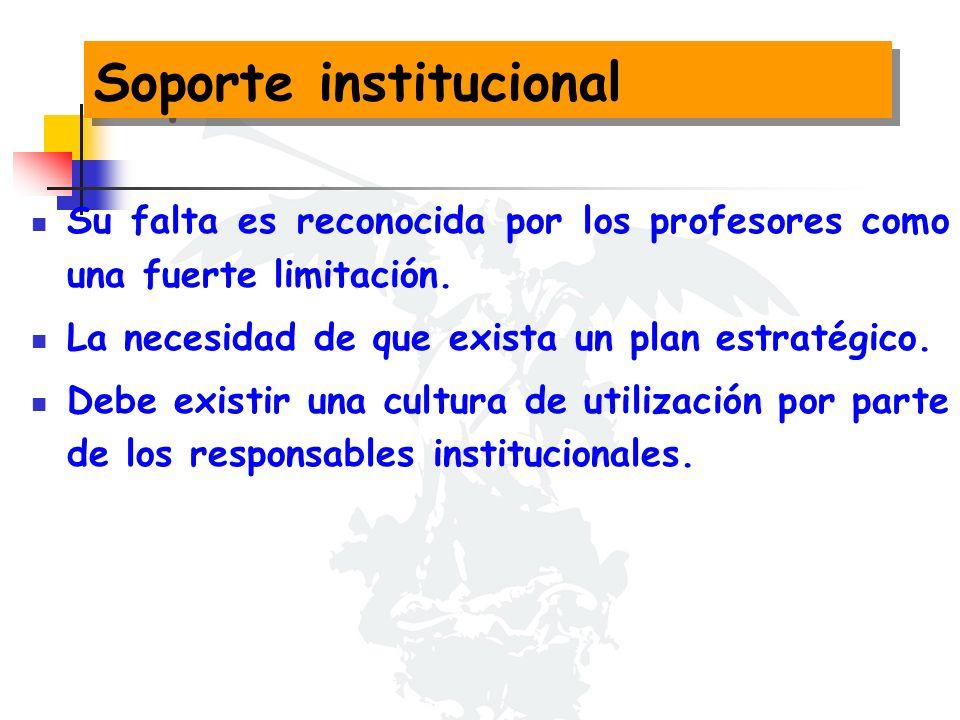 Soporte institucional Su falta es reconocida por los profesores como una fuerte limitación.