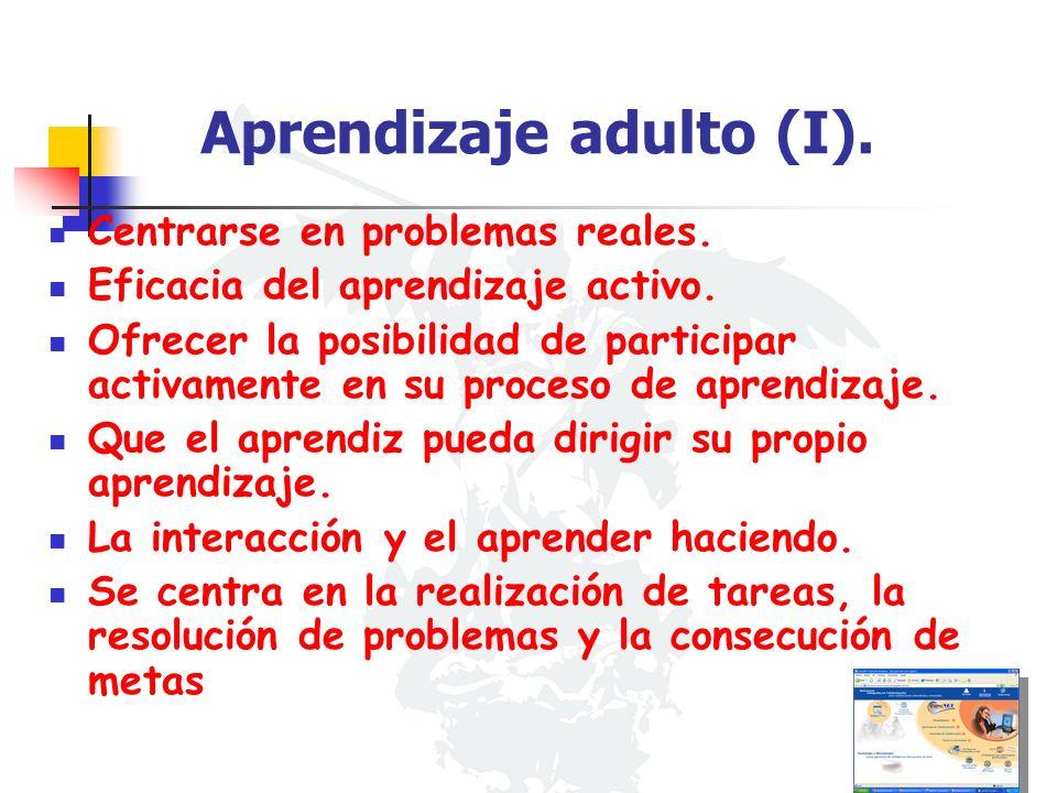 Aprendizaje adulto (I). Centrarse en problemas reales. Eficacia del aprendizaje activo. Ofrecer la posibilidad de participar activamente en su proceso