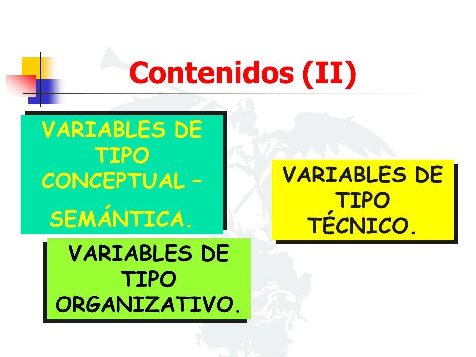 VARIABLES DE TIPO CONCEPTUAL – SEMÁNTICA. VARIABLES DE TIPO CONCEPTUAL – SEMÁNTICA. VARIABLES DE TIPO TÉCNICO. VARIABLES DE TIPO ORGANIZATIVO. Conteni
