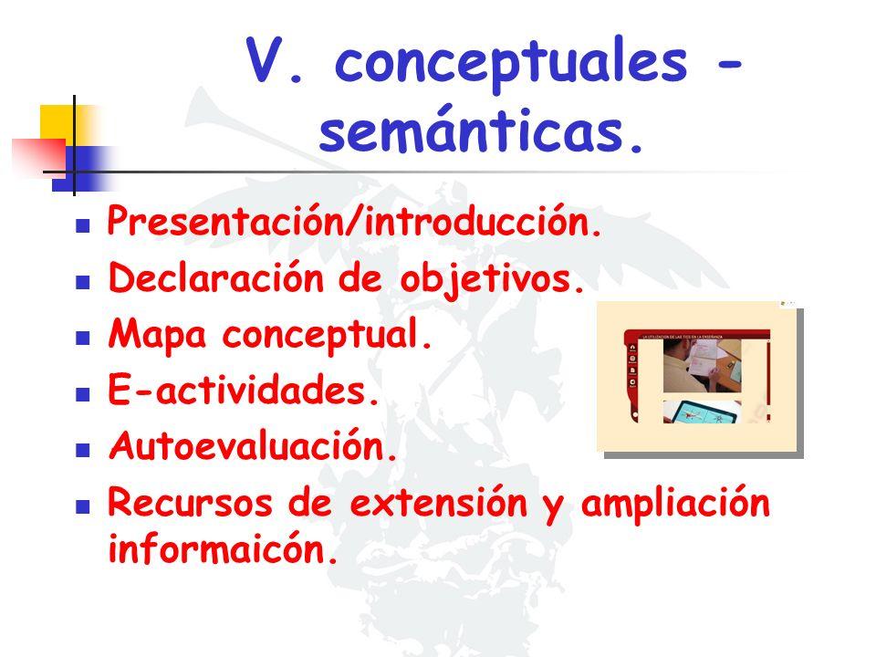 V. conceptuales - semánticas. Presentación/introducción. Declaración de objetivos. Mapa conceptual. E-actividades. Autoevaluación. Recursos de extensi