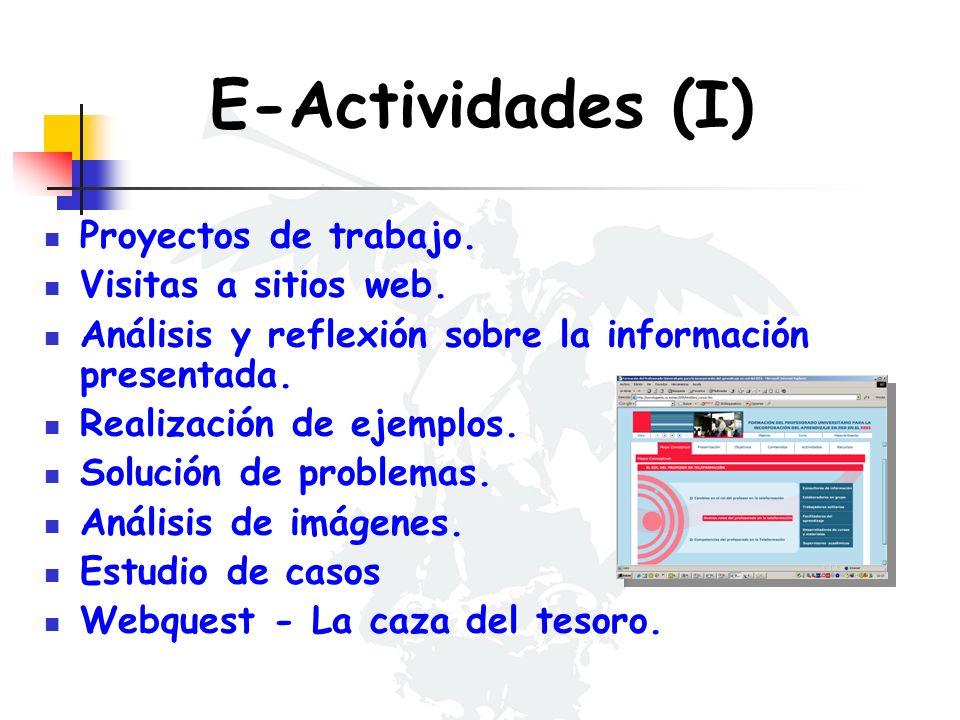 E-Actividades (I) Proyectos de trabajo. Visitas a sitios web. Análisis y reflexión sobre la información presentada. Realización de ejemplos. Solución