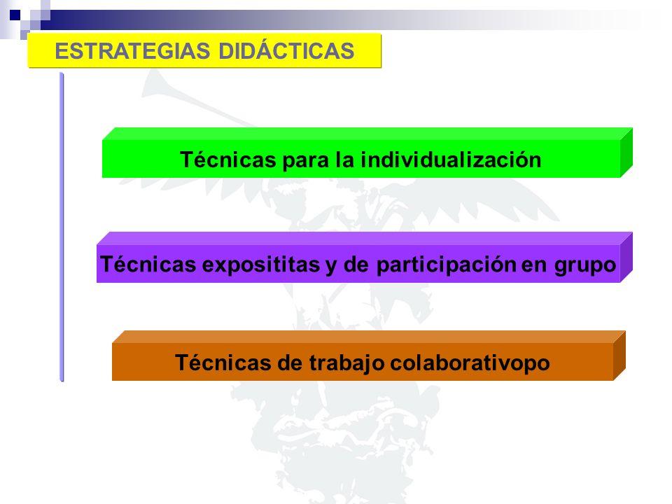ESTRATEGIAS DIDÁCTICAS Técnicas para la individualización Técnicas exposititas y de participación en grupo Técnicas de trabajo colaborativopo