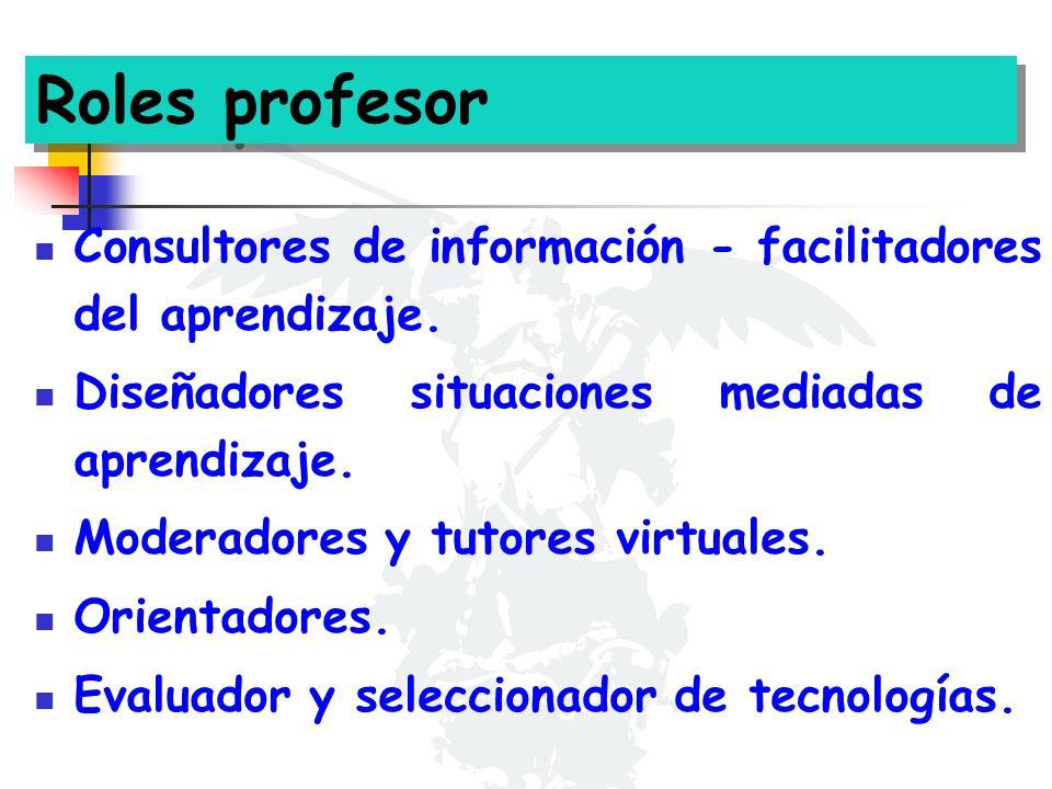 Roles profesor Consultores de información - facilitadores del aprendizaje. Diseñadores situaciones mediadas de aprendizaje. Moderadores y tutores virt