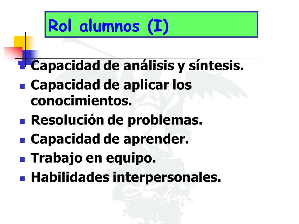 Rol alumnos (I) Capacidad de análisis y síntesis. Capacidad de aplicar los conocimientos.