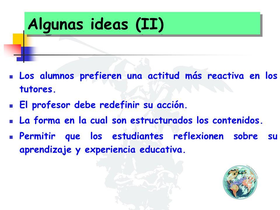Algunas ideas (II) Los alumnos prefieren una actitud más reactiva en los tutores. El profesor debe redefinir su acción. La forma en la cual son estruc