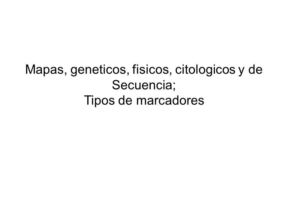 Mapas, geneticos, fisicos, citologicos y de Secuencia; Tipos de marcadores