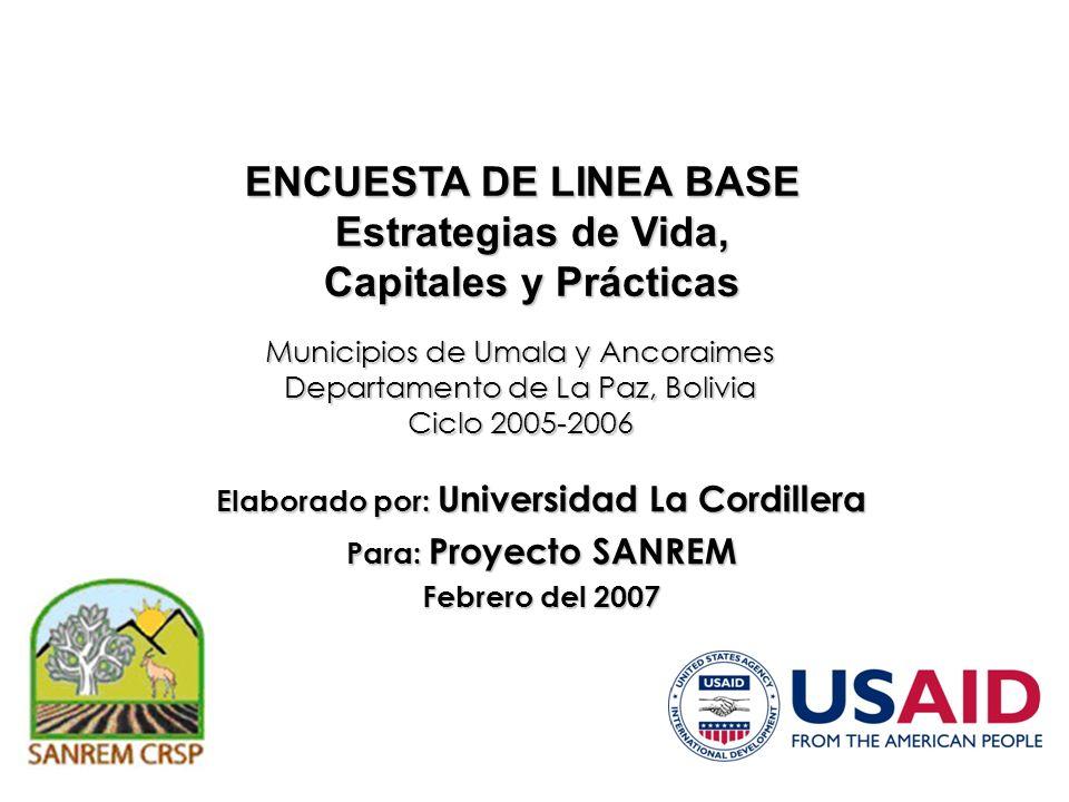 Municipios de Umala y Ancoraimes Departamento de La Paz, Bolivia Ciclo 2005-2006 ENCUESTA DE LINEA BASE Estrategias de Vida, Capitales y Prácticas Ela