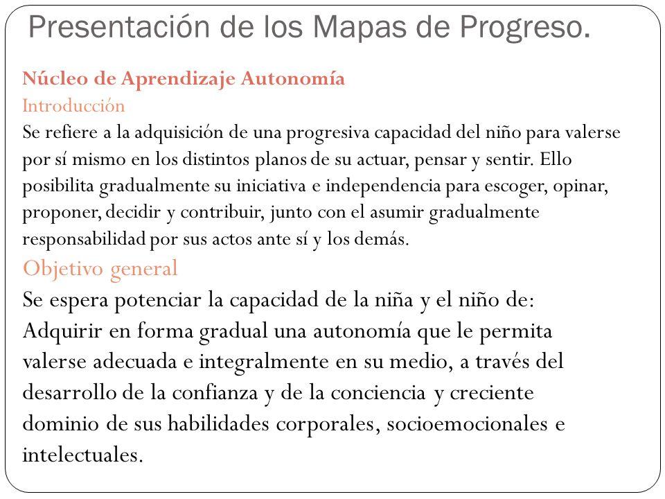 Presentación de los Mapas de Progreso. Núcleo de Aprendizaje Autonomía Introducción Se refiere a la adquisición de una progresiva capacidad del niño p