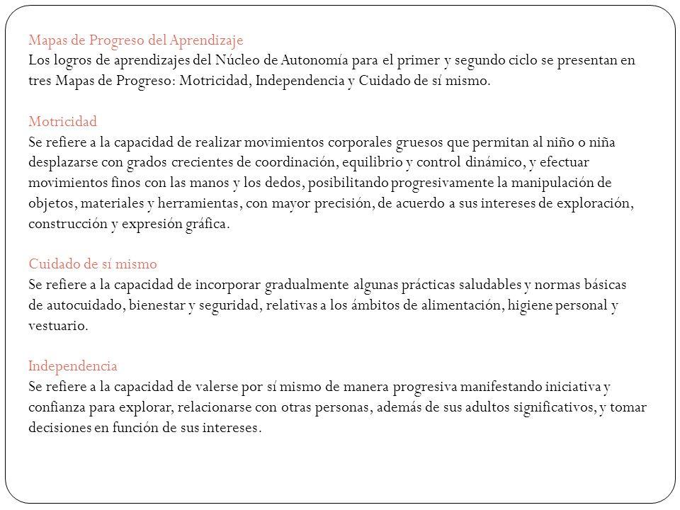 Mapas de Progreso del Aprendizaje Los logros de aprendizajes del Núcleo de Autonomía para el primer y segundo ciclo se presentan en tres Mapas de Prog