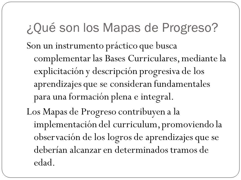 ¿Qué son los Mapas de Progreso? Son un instrumento práctico que busca complementar las Bases Curriculares, mediante la explicitación y descripción pro