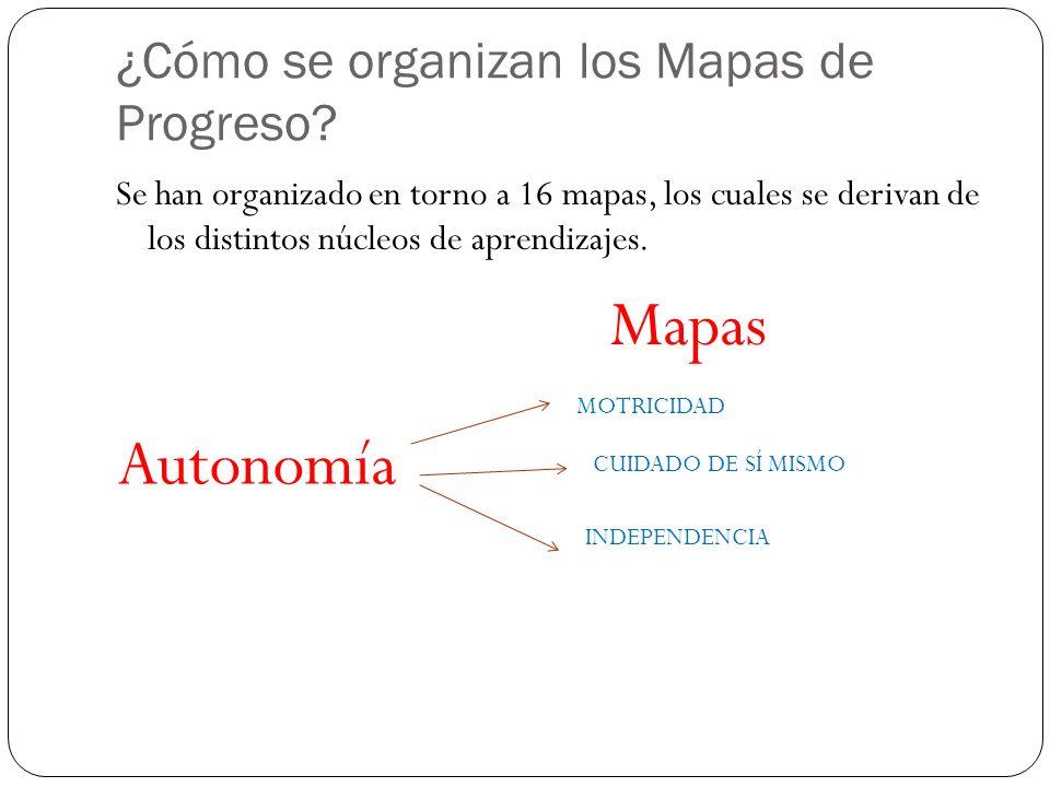 ¿Cómo se organizan los Mapas de Progreso? Se han organizado en torno a 16 mapas, los cuales se derivan de los distintos núcleos de aprendizajes. Auton