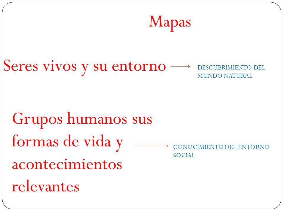 Seres vivos y su entorno Mapas CONOCIMIENTO DEL ENTORNO SOCIAL Grupos humanos sus formas de vida y acontecimientos relevantes DESCUBRIMIENTO DEL MUNDO