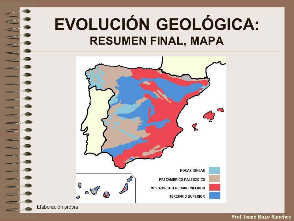EVOLUCIÓN GEOLÓGICA: RESUMEN FINAL, MAPA Prof. Isaac Buzo Sánchez Elaboración propia