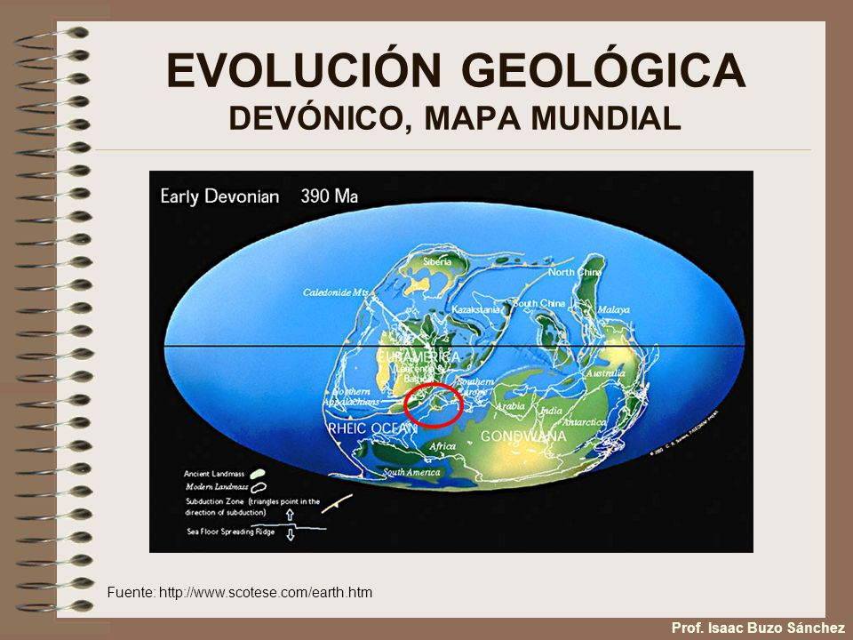 EVOLUCIÓN GEOLÓGICA DEVÓNICO, MAPA MUNDIAL Fuente: http://www.scotese.com/earth.htm Prof. Isaac Buzo Sánchez