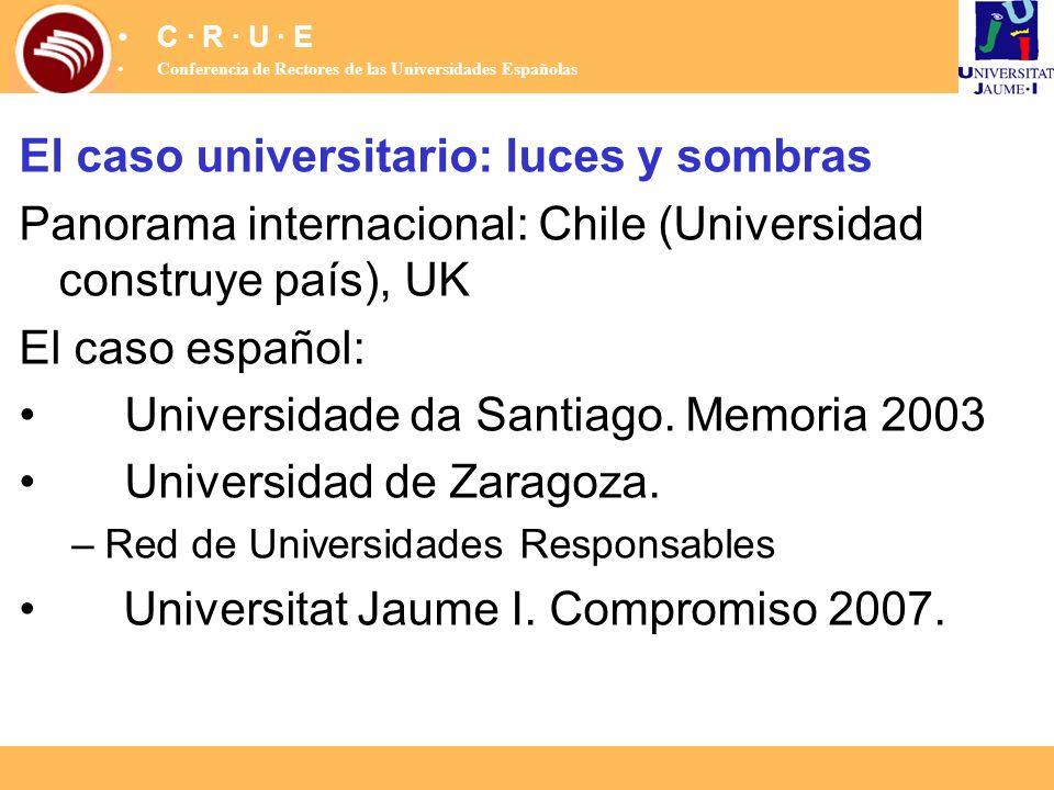 El caso universitario: luces y sombras Panorama internacional: Chile (Universidad construye país), UK El caso español: Universidade da Santiago. Memor