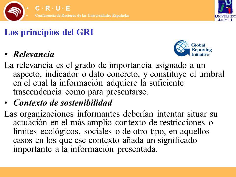 Los principios del GRI Relevancia La relevancia es el grado de importancia asignado a un aspecto, indicador o dato concreto, y constituye el umbral en