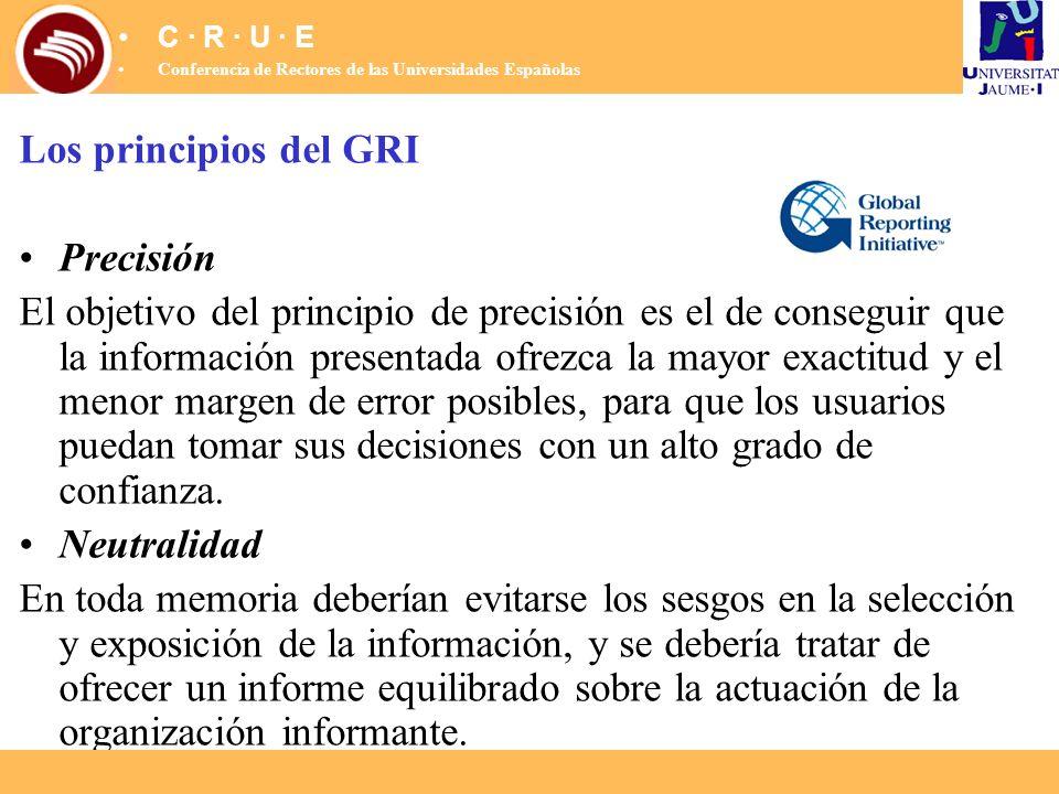 Los principios del GRI Precisión El objetivo del principio de precisión es el de conseguir que la información presentada ofrezca la mayor exactitud y