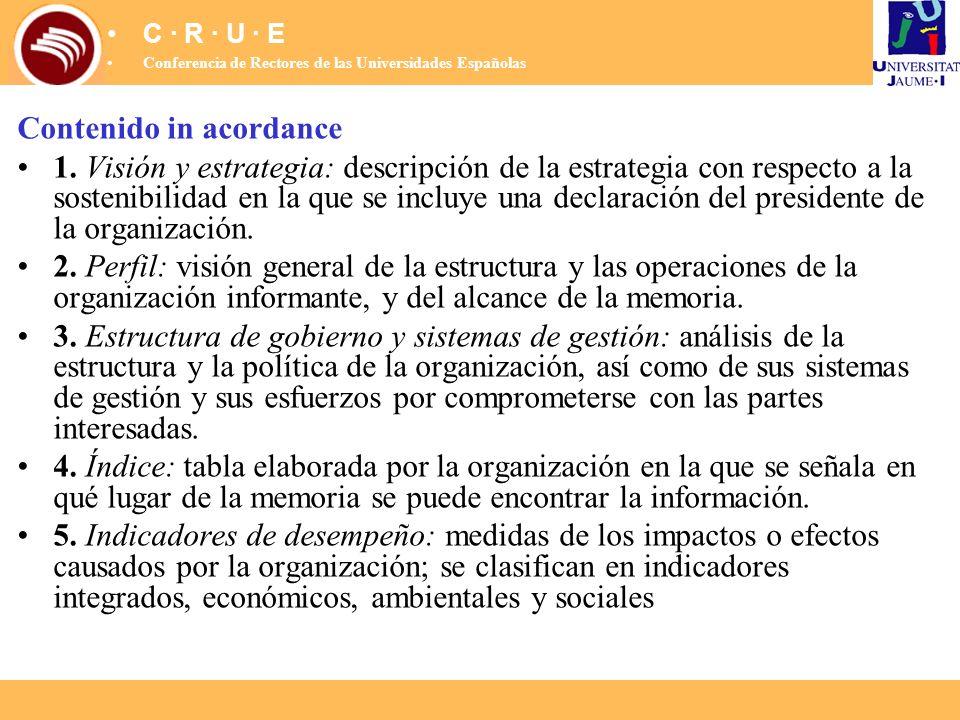 Contenido in acordance 1. Visión y estrategia: descripción de la estrategia con respecto a la sostenibilidad en la que se incluye una declaración del