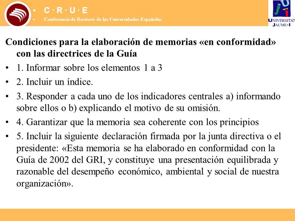 Condiciones para la elaboración de memorias «en conformidad» con las directrices de la Guía 1. Informar sobre los elementos 1 a 3 2. Incluir un índice