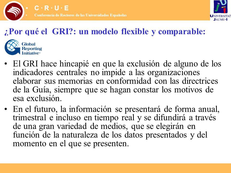 ¿Por qué el GRI?: un modelo flexible y comparable: El GRI hace hincapié en que la exclusión de alguno de los indicadores centrales no impide a las org